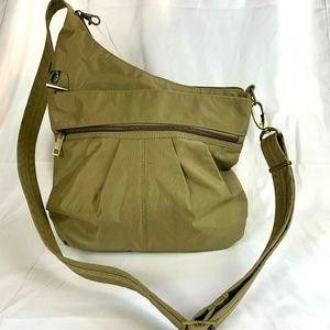 TRAVELON Beige Hobo Crossbody Bag Purse